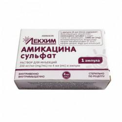 Купить Амикацин (амикацина сульфат) раствор для инъекций 250мг/мл 4мл №1 в Екатеринбурге